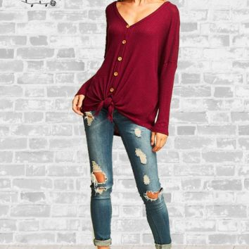 Tie Front Waffle Knit Top - Burgundy - Large, XL or 1X only