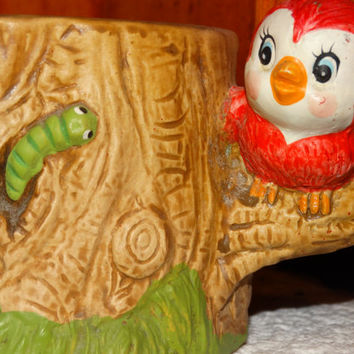 Vintage Ardco Pottery Planter, Red Bird, Tree, Green Worm, Made in Taiwan, Republic of China, Tree Trunk Planter, Vase, Flower Pot