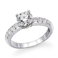 14K White Gold Brilliant Round Cut Diamond Engagement Ring (0.90 cttw, J-K Color, I1-I2 Clarity) - Size 7