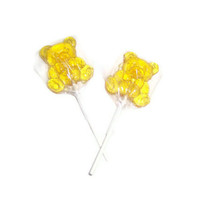 8 Teddy Bear Lollipops - Lemon Flavor - Yellow Color
