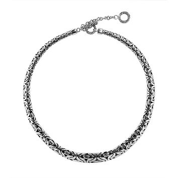 """AN-6274-S-18"""" Sterling Silver Bali Hand Crafted Chain 7X9MM Graduated Necklace"""