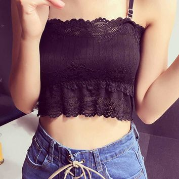 Summer Sexy Women Lace Top Tanks Spaghetti Strap Tube Tank Tops Bralette Bralet Wrap Chest Crop Top Camis Padded Tops Women #517
