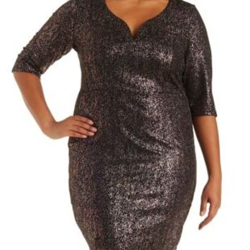 Plus Size Iridescent Plunging Bodycon Dress