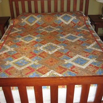 Hidden Wells twin quilt, queen coverlet or wall hanging - 83X58 - Moda Fig Tree Folklorique fabric - brown, red, green, blue, orange