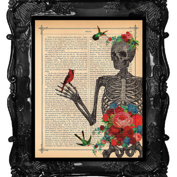 Love Blossoms SKELETON Art Print Birds Cardinal Flower SKELETON Anatomy art antique book page dictionary print