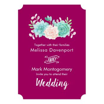 Pastel Pink & Green Floral Bouquet Wedding Card