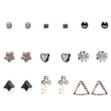 Dainty Mixed Metal Earring Set | Wet Seal