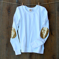 Gold Sequin Elbow Patch Sweatshirt White Jumper with Gold Sparkle Elbow Patches