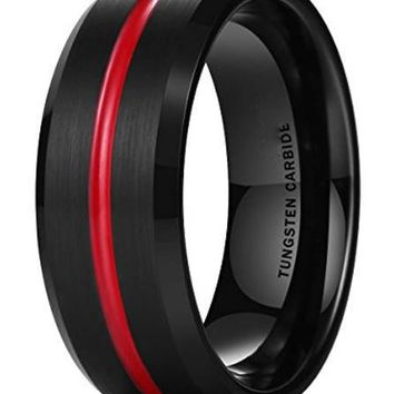 CERTIFIED 8MM LOOP Thin Red Groove Black Brushed Tungsten Carbide Wedding Band