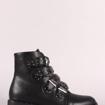 Bamboo Leather Suede Studded Buckles Almond Toe Ankle Boot