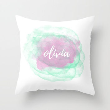 Custom Name Pillow, Personalized Pillow Case, Throw Pillows with Words, Pink Accent Pillows Decorative, Watercolor Pillow Covers 20x20