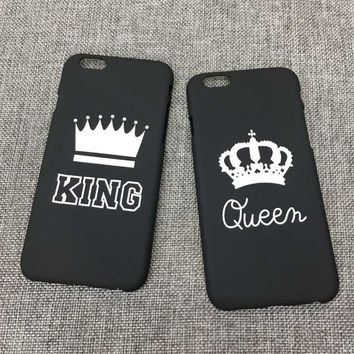Trendy Phone Cases KING & QUEEN couple Cover For iPhone 5 5S SE 6 6S 6Plus 7 7Plus 8 8Plus Prince & Princess Couple hard Cas Capa Case AT_94_13