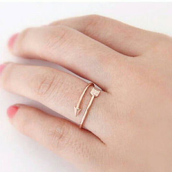 Rose Gold Arrow Ring - Size 6.5 - Stackable Ring - Statement Ring