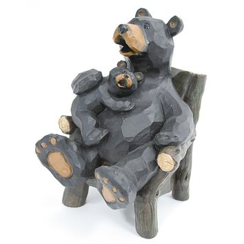 Mom & Son Bear On Chair Figurine