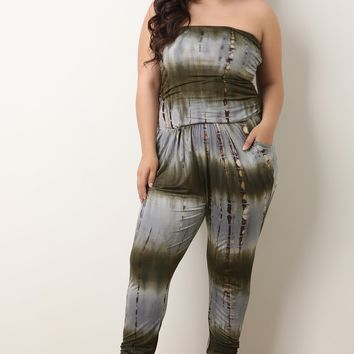 Tie Dye Jersey Knit Strapless Cinched Jumpsuit
