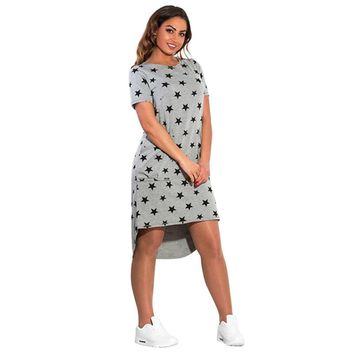 Fashion Print Star Summer Women Dresses big Sizes Women Clothing Knee-Length Dress Casual Loose Dress S4