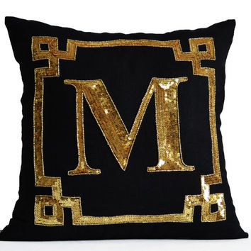 Gold Monogram Pillow Cushion Cover -Monogram -Personalized Gift -Sequin Pillow -Throw Pillow, Gold Pillow, Dorm Decor, Monogram Cushion Gift