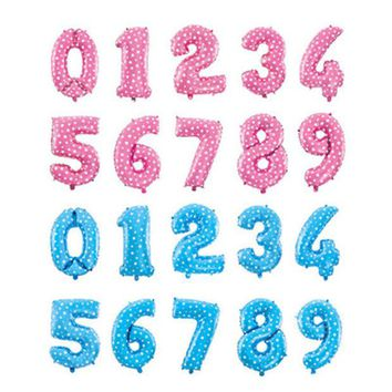 DKF4S Pink Blue Number Foil Balloons Birthday Party Digit Ballons Wedding Decor Baloons Christmas Holiday Supplies 16 inch number