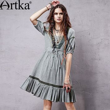 ARTKA Women's Summer New Vintage Lantern Sleeve Cotton Hollow out Short Sleeve Knee-Length Casual Dress LA14354X
