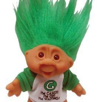 "Lucky Letter 'G' Bingo Troll Doll ~ 'I'm Cased! I'm On! and I'm Waiting!~ Gorgeously Green Hair ~ 5"" Tall (not including hair)"