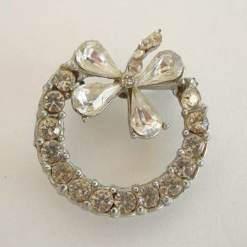 Rhinestone Circle Brooch Lapel Pin Holiday Bow Pot Metal Vintage Jewelry