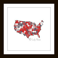 US Map Poster Print - Red and grey decor, continental United States, grey and coral hexagon geometric art, home decor wall art, dorm decor