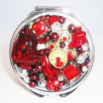 Red Jeweled Compact Mirror Petite - Christmas Present - Repurposed Vintage Jewelry