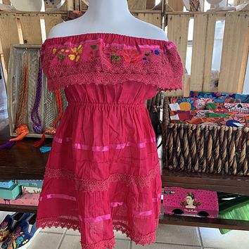 Mexican Campesino Dress for Girls Pink