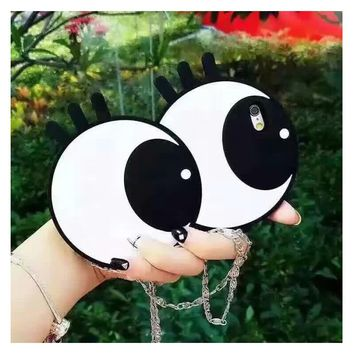 3D Cute Cartoon Soft Silicone Big Eyes Phone Case Cover for iPhone 6 6S 7 8 Plus for Samsung Galaxy S7 S7 Edge with Metal Chain