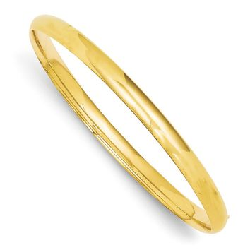 5mm 14k Yellow Gold Polished Domed Hinged Bangle Bracelet, 7 Inch