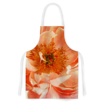 "Pellerina Design ""Blushing Peony"" Coral White Artistic Apron"