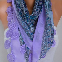 Spring Lilac Scarf Mother's Day Gift Cotton Oversize Necklace Cowl Scarf Multicolor Gift Ideas for Her Women Fashion Accessories