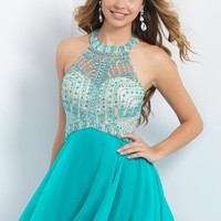 Intrigue 94 Jeweled Neck Open Back Party Dress