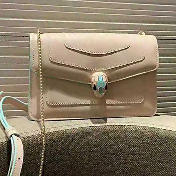 Bvlgari High Quality Fashion Women Leather Chic Buckle Satchel Crossbody Shoulder Bag Apricot
