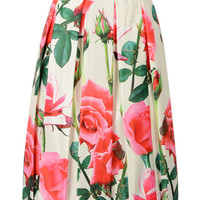 Beige Rose Print Pleated Midi Skirt