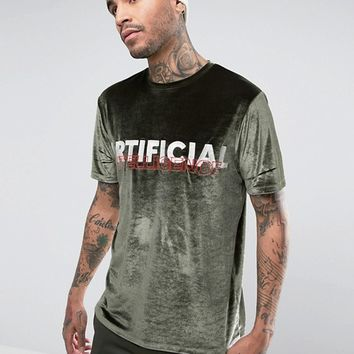 ASOS Relaxed Velour T-Shirt With Text Embroidery at asos.com