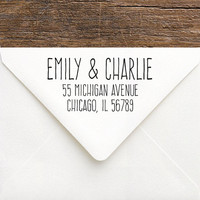Personalized Return Address Stamp - DIY Rustic Wedding Stamp for Invitations, Save The Dates - Self-Inking or Wood Stamp for Return Address