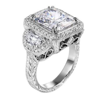 Engagement Ring - Square Diamond Vintage Engagement Ring with Half Moon Diamonds in 14K White Gold - ES861