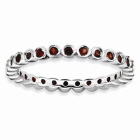 Sterling Silver Stackable Expressions Garnet Ring: RingSize: 8
