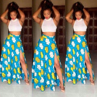 African Sheer Crop Top and Printed Maxi Skirts
