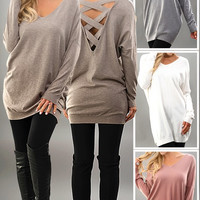 Sweater Tunic w/Criss Cross Back Detail - 4 colors!