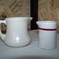 Vintage Pair Ironstone Creamers, Cream Pitchers, Mixmatched, Retro Restaurant Ware--Kitchenware--Country Kitchen--Cottage Chic