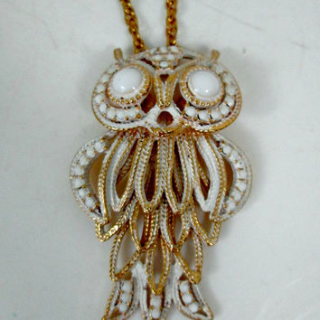 Vintage HMS Layered Owl Necklace White Enamel and Milk Glass