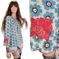 wildflower 60s blouse 70s blouse hippie boho gypsy daisy embroidered hipster shirt 60s top 70s top 70s dress bohemian festival clothing s m
