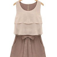 Summer Sleeveless Chiffon Rompers with Bowknot