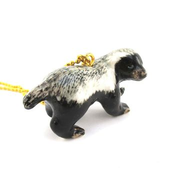 3D Porcelain Honey Badger Shaped Ceramic Pendant Necklace