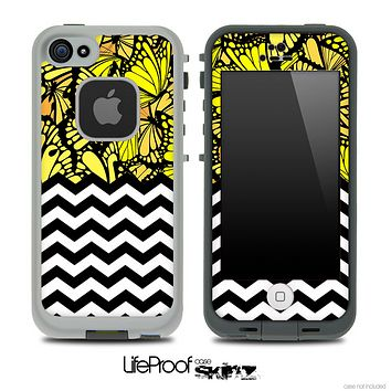 Mixed Yellow Butterfly Bundle and Chevron Pattern Skin for the iPhone 5 or 4/4s LifeProof Case