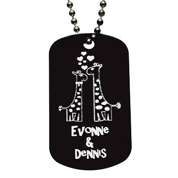 Giraffe Couple in Love Dog Tag Necklace with Free Customization