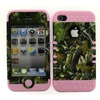 Apple iPhone 4 4S 4GS Hybrid Case Camo Green Leaves Skin Light Pink Phone Cover