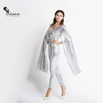 Free Shipping  Deep v Angel wings sequin Jumpsuit  ND5121